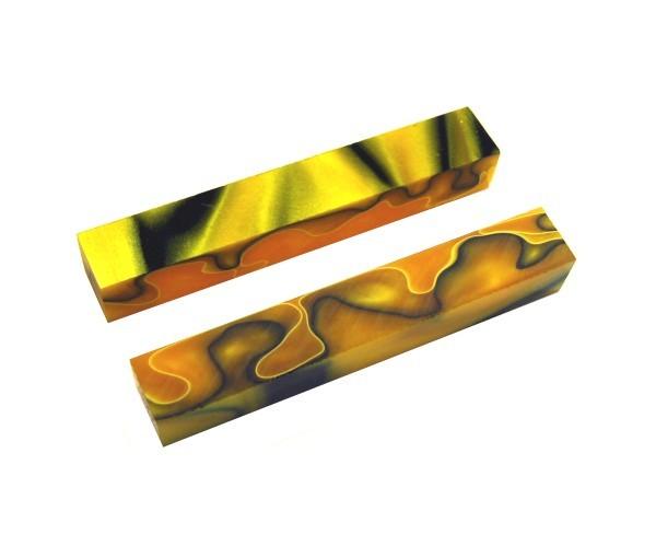 Pen Blank Acryl gelb/schwarz/orange ca. 20x20x130mm