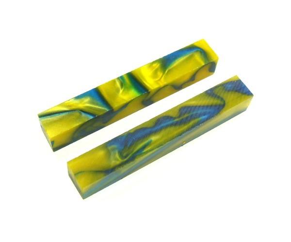 Pen Blank Acryl blau und gelb ca. 20x20x130mm