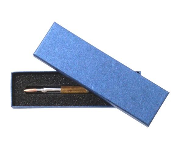 Stiftbox blau mit abnehmbaren Deckel und Schaumeinlage