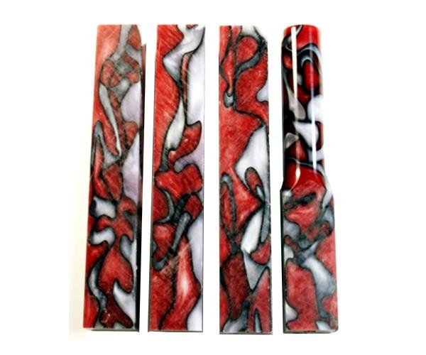 Pen Blank Acryl rot weiß black line ca. 19x19x130mm