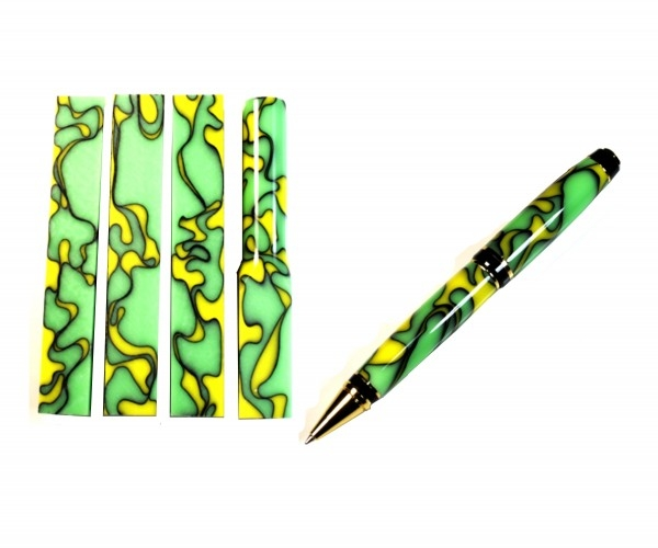 """Pen Blank Acryl """"gelb grün schwarz"""" ca. 19x19x130mm"""