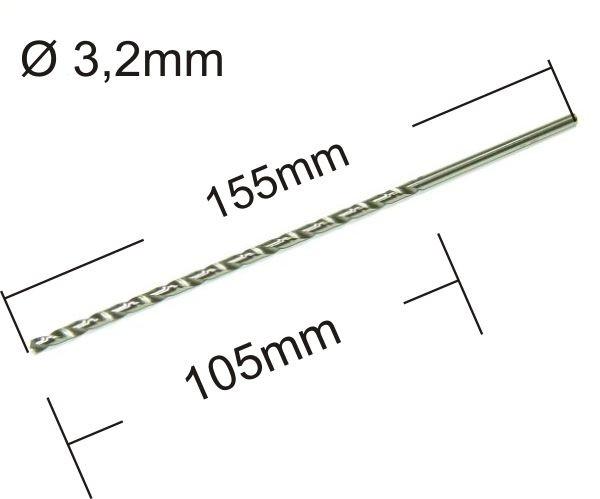 Spiralbohrer lang Ø3,2mm DIN 1869 HSS-G geschliffen 155mm