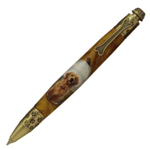 PSI Dog Click Pen Antik Messing
