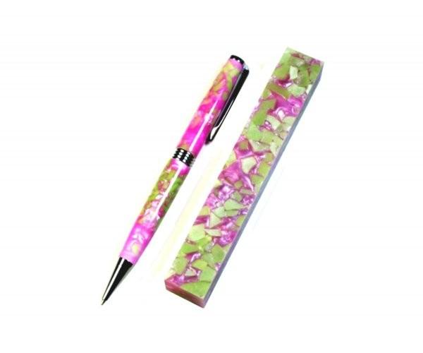Pen Blank Acryl crush pink und grün ca. 19x19x130mm