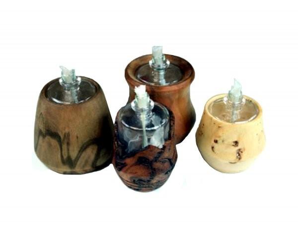 Öllampeneinsätze 4 Stück inkl. 4 Dochte und 4 Trichter