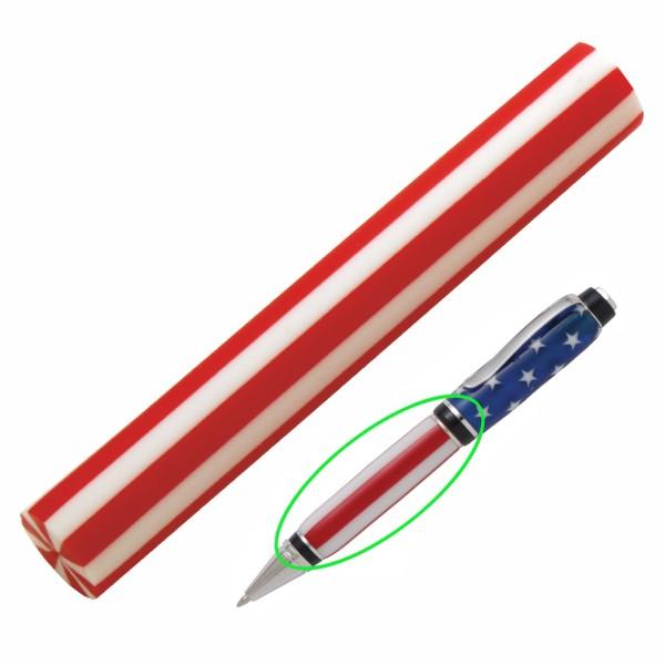 Pen Blank PSI Acryl Red Stripes ca. Ø19x130 mm