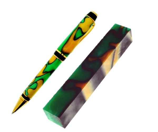 """Pen Blank Acryl """"gold-gelb grün schwarz"""" ca. 19x19x130mm"""